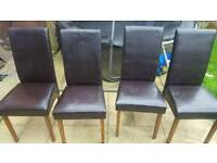 4 leather chairs & table