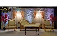 Asian Indian Wedding Mehndi Stages, Flower wall Backdrops, Decor, Chair Covers, Wedding Lights,
