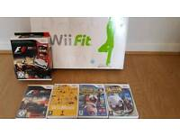 Wii Fit board, racing wheel and games