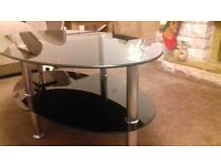 Glass coffee table with nest of 2 tables
