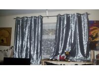 Steel silver crushed velvet curtains