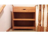 Oak Effect Changing Table/Shelving Unit with drawer