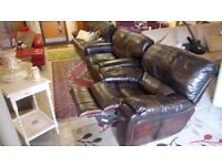 Similar Refurbished Oxblood leather recliner & two seater sofa CHEAP DELIVERY Stalybridge sk15 2pt