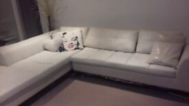 Dwell Corner Sofa White Leather