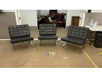 Set of 3 Barcelona style chrome chairs £500