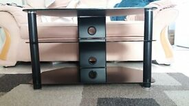 Gloss black glass tv stand