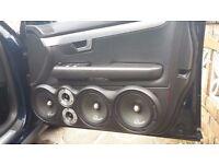 CUSTOM AUDI A4 B6 B7 DOOR BUILDS PODS LOUD SOUND SPEAKER SYSTEM FITS SALOON AVANT SUBWOOFER