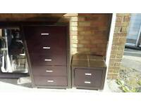 Brown wood and leather look tall chest of drawers with matching bedside table
