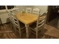6ft x 3ft Grey Shabby Chic Farmhouse Table and Chair Set - Delivery Available