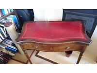 Antique Victorian/Edwardian ladies mahogany red leather-top writing desk/card table