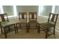 Oak dining chairs, vintage. Set of 4+1
