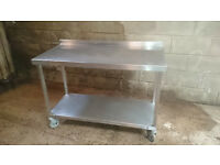 Stainless steel catering work surface.