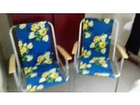 2 fold up garden chairs