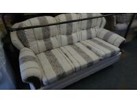 3 seat white fabric sofa settee stripe pattern modern