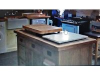 Marble top solid oak kitchen island