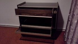 Hostess trolley cabinet with hotplate top.