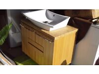 Sink, cabinet and stone worktop