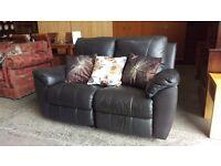 Rossini 2 seater black leather recliner sofa