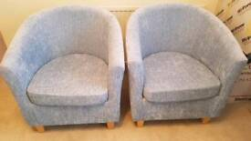 2x Duck Egg / Light Blue Tub Chairs Dunelm