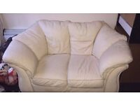 White leather sofa and chair table and 4 chairs