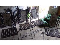 Wrought iron garden chairs x4
