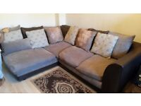 CORNER SOFA 4 seater Faux leather & fabric mix Brown/beige colour