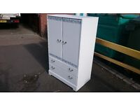 White Floral Wardrobe with Dual Drawers