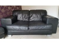 Black Leather 2 Seater Settee, Chair and Foot Stool