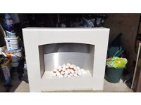 Modern white electric fire