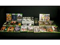 XBOX 360 WITH 20 GAMES, 2 CONTROLLERS AND ALL LEADS