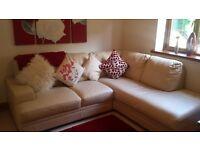 Corner cream leather sofa