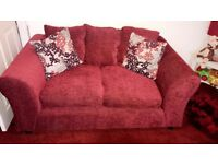 Red 2 & 3 Seater Couch sofa. Practically new! Free pickup collection cushion chair high quality
