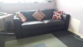 3 Seat Large Black Leather Sofa Bed with Easy fold out mattress