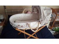 Mamas and papas moses basket with blanket and stand
