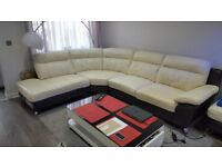 DFS LEATHER CORNER SUITE WITH FOOTSTOOL CHROME LEGS / SOFA / MODERN SETTEE DELIVER AVAILABLE