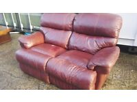 Two and three seater leather sofa