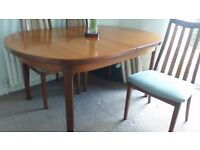 MCINTOSH TEAK TABLE AND 4 CHAIRS