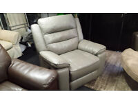 EX-DISPLAY SCS GREY LEATHER MANUAL RECLINER ARMCHAIR WITH DARK GREY PIPING