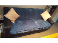 3 Seat leather couch & chaise lounge