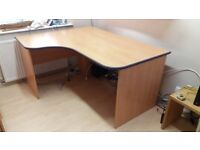 L-Shaped Beech Desk For Sale Very Sturdy Excellent Condition