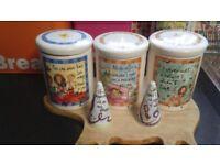 Tea, Coffee & Sugar Jars + Salt & Pepper Pots ( Johnson Brothers)
