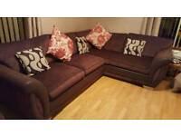 brown fabric corner sofa and cuddler chair