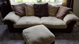 4 and 2 seater sofa plus footstool for sale