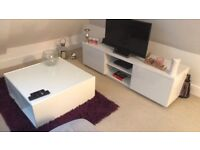 White coffee table and tv unit
