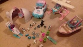 Land and sea animal rescue set. Car, boat, snow ski, igloo and plane. Selection of animals.