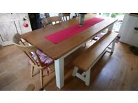 Large pine farmhouse table and matching three-seater bench
