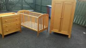 Baby's cot, wardrobe and dresser