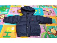 POLO RALPH LAUREN KIDS HOODED DOWN JACKET NAVY SIZE 12M