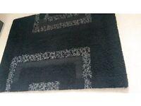 Dunelm thick shaggy Rug black and grey squares, 120x160cm