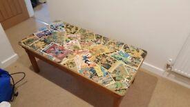 Comic book covered decoupage pine coffee table